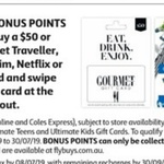 2000 Bonus Flybuys Points (Worth $10) with Purchase of $50 Netflix, Uber, Ultimate for Him, Gourmet Traveller Gift Cards @ Coles