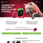 Bonus Seagate 500GB One Touch SSD with Purchase of Two 8TB or Larger IronWolf Drives, or Four 4TB/6TB IronWolf Drives @ Seagate