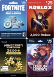 Win 1 of 2 Prepaid Cards of 2800 V-Bucks, 3500 Minecoins, 2000 Robux or 3500 Riot Points