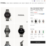 Fossil Gen 4 Smartwatch Explorist HR Smoke Stainless Steel $159 (RRP $469) Shipped @ Fossil