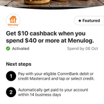 CommBank Rewards: $10 Cashback with $40 Minimum Spend @ Menulog