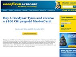 Buy 4 GoodYear Tyres and Receive a $100 Citi Prepaid MasterCard