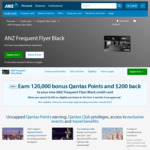 ANZ Frequent Flyer Black: 120,000 Bonus Qantas Points + $200 Cash Back ($3000 Spend in First 3 Months) $425 Annual Fee @ ANZ