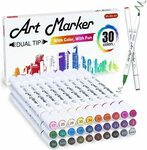 30 Colours Dual Tip Art Markers $13.79 (Was $22.99) + Delivery ($0 with Prime/ $39 Spend) @ Shuttle Art via Amazon AU