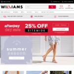 25% off Storewide + Delivery ($0 with $65 Spend) @ Williams Shoes