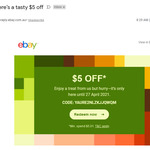 $5 off Any Purchase over $5.01 @ eBay