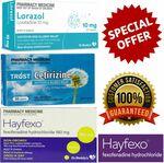 30x Fexofenadine + 30x Loratadine + 30x Cetirizine (Generic Telfast/Claratyne/Zyrtec) $19.99 Delivered @ PharmacySavings