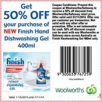 50% off New Finish Hand Dishwashing Gel (WOOLWORTHS)
