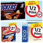 1/2 Price 6x Snickers/Mars Ice Cream $3.99, 4x Chiko Rolls $2.67, Zico Coconut Water 1L $3 @ Coles