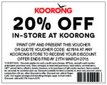 20% off at Koorong ENDS 27 March 2015