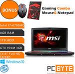 """MSI GE62 6QF-030AU Apache Pro 15.6"""" i7-6700HQ 8GB 1TB GTX 970M 3GB Win 10 Laptop $1741.65 @ PC Byte eBay"""
