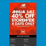 New Balance Annual Sale - 40% off Storewide @ All Outlet Stores