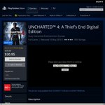 Uncharted 4 Digital Edition $22.95 for PS+ Members, $30.95 without