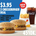 Hungry Jack's: 2 Cheeseburger, Small Drink and Small Chips for $3.95 (QLD, WA, SA Only)