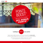 20% Bonus Points for Purchases Using HSBC Credit Card