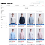 4 for $40 on Hoodies, Knits, Sweats, Shirts. 2 for $40 Jackets + $10 Delivery @ Roger David