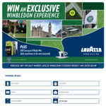 Win a Trip to London Worth $20K or Instant Win 1 of 100 Coffee Machines [Purchase a Specially Marked Lavazza Wimbledon Product]