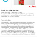 Flybuys: Get a Free Kit Kat Mint 2 Ways Block 170g Sample from Coles