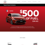 $500 Caltex StarCash Fuel Card with Purchase of New Toyota Corolla Hatch (Current Ownership & myToyota App Required) @ Toyota