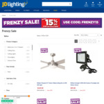 Extra 15% off Selected LED Downlights, Ceiling Fans & More @ JD Lighting