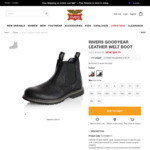Men's Goodyear Leather Welt Boots $29 Black Size 9 (Sold Out), $59.40 Brown (Was $129) @ Rivers
