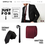 50% off Storewide & Free Shipping @ Simple Tie