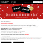 Event Cinemas $50 Gift Card for $40 (Cinebuzz Members)