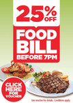 Voucher: 25% off Your Total Food Bill if You Order before 7pm at 122 Venues in VIC, NSW, SA, TAS