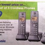 3x Panasonic DECT Phones & Answering Machine $39 at Officeworks