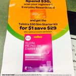 $1 for $30 Telstra Starter Kit AFTER Spending $30 or More on EDR Card @ Woolworths (Most Stores)