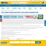 Up to $200 Instant Cash Back on Selected Air Conditioners - Expires on 30th of September @ Betta