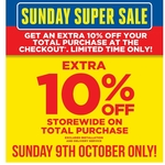 Extra 10% off @ Masters (One Day Only 9th Oct)