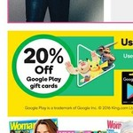 20% off Google Play Gift Cards @ Woolworths