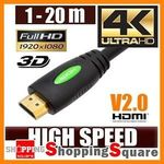 HDMI Cable High Speed with Ethernet, 4K, 3D - 1M $2.95 1.5m $3.95 3M $6.95 Shipped (AU) @ Shopping Square eBay
