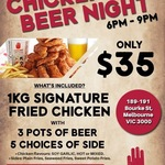 Chicken and Beer Night $35 @ 4 Fingers Crispy Chicken - Bourke St Melbourne Only