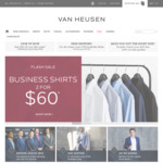 2 Business Shirts for $60 ($9.95 Shipping for Order under $100) @ Van Heusen