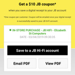 $10 Coupon When Saving Your In-Store Receipt to Your Online Account @ JB Hi-Fi