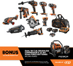 AEG 9 Piece Brushless Fusion/Force Kit $1,899 with 2x9.0Ah Batteries and 18V Compressor via Redemption @ Bunnings