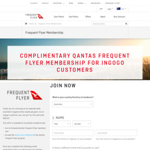 Free Qantas Frequent Flyer Membership via Ingogo & Luxury