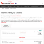New Route: Qantas : Sydney <> Mildura from $179 (from 29 March) @ Qantas