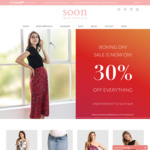 Boxing Day Sale - 30% off Everything at Soon Maternity