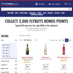 Spend $50 Online & Collect 2,000 Bonus flybuys Points - Delivery Fee Applies @ First Choice Liquor