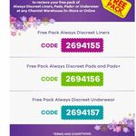 Free Pack of Always Discreet Incontinence @ Chemist Warehouse