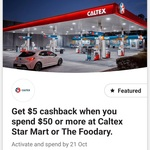CommBank Rewards $5 Cashback with $50 Spend @ Caltex Service Stations