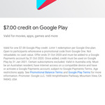 Free $7 Credit on Google Play via Google 1 App