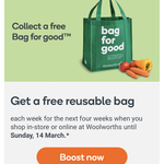 "Free ""Bag for Good"" Reusable Bag (Was $0.99) Each Week for Four Weeks @ Woolworths"