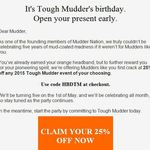 Tough Mudder - 25% Discount Code - Any Event