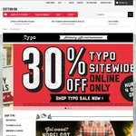 30% off Full Priced Items - Online Only @ Typo