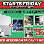 Xbox One S 1TB + 4 Games (Star Wars Battlefront 2, GTA V, Assassin's Creed Origins, Rainbow Six Siege) - $379 @ EB Games