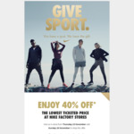 40% off The Lowest Ticketed Price @ Nike Factory Stores (VIC/NSW/QLD/ACT)